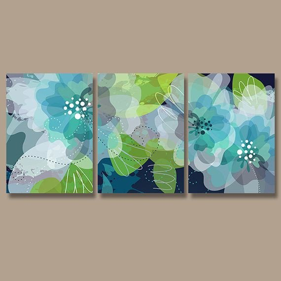 Blue and Green Wall Decor Elegant Watercolor Wall Art Canvas or Print Pottery Flower Artwork Abstract Art Blue Green Bedroom