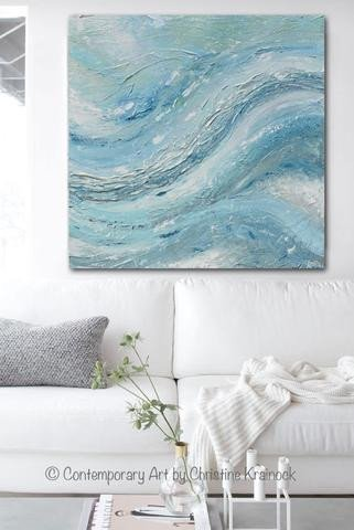 Blue and Green Wall Decor Inspirational original Art Abstract Painting Coastal Wall Decor Blue Green Textured – Contemporary Art by