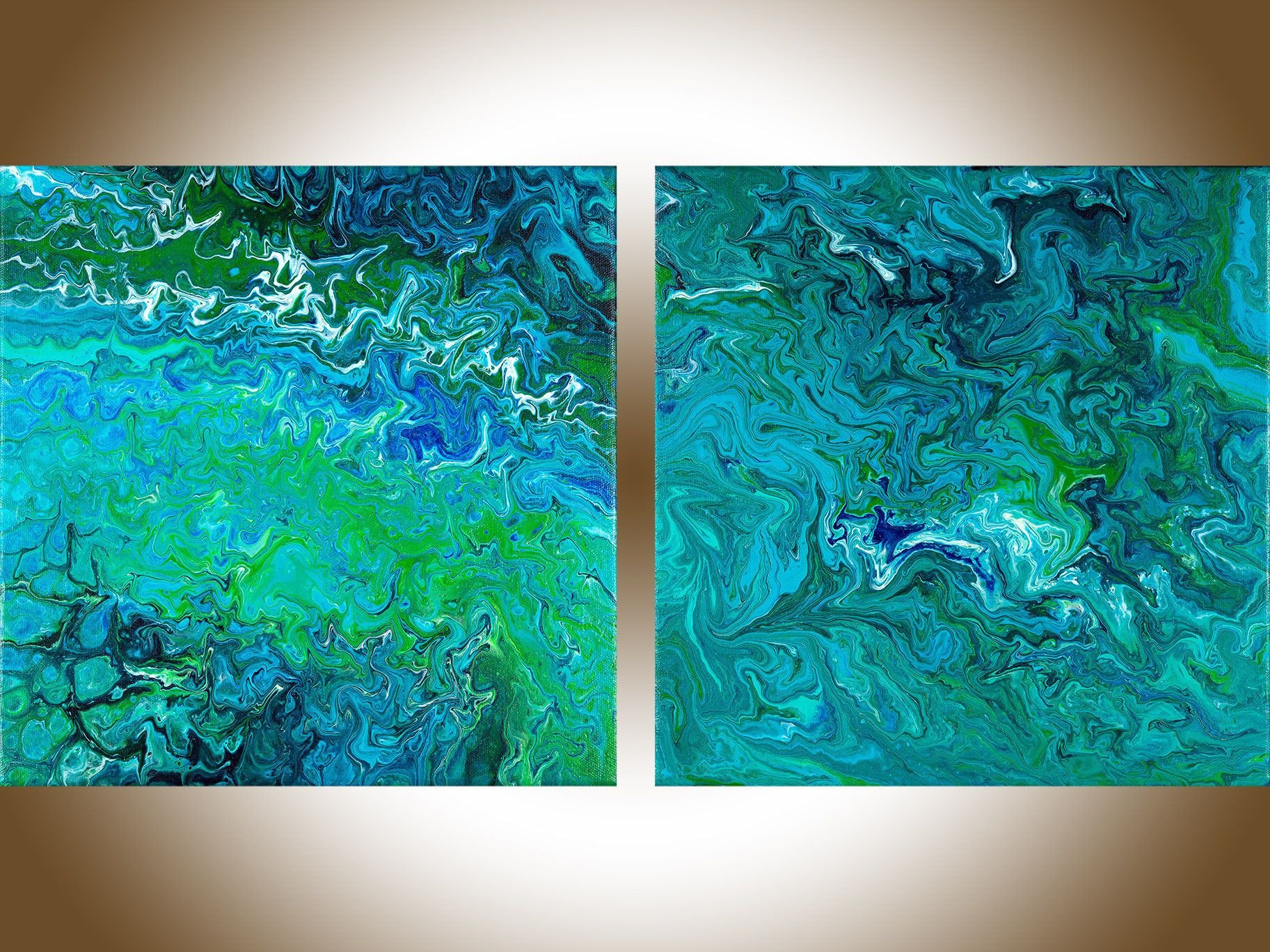 Blue and Green Wall Decor Lovely Set Of Painting Fluid Art Green Blue Abstract Painting Contemporary Art original Art Wall Art