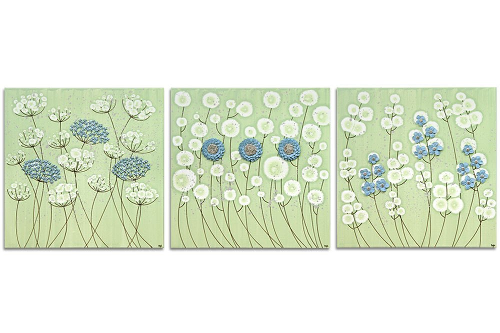 Blue and Green Wall Decor Luxury Flower Wall Art On 3 Canvases In Green and Blue Extra