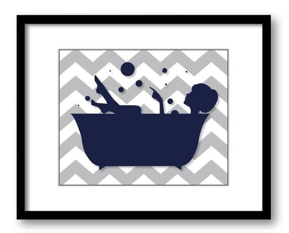 Blue and Grey Bathroom Decor Elegant Bathroom Decor Bathroom Print Navy Blue and Grey Girl In A