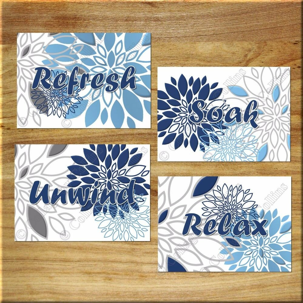 Blue and Grey Bathroom Decor Elegant Blue Navy Gray Wall Art Bathroom Bath Spa Prints Decor Floral Flower Relax soak