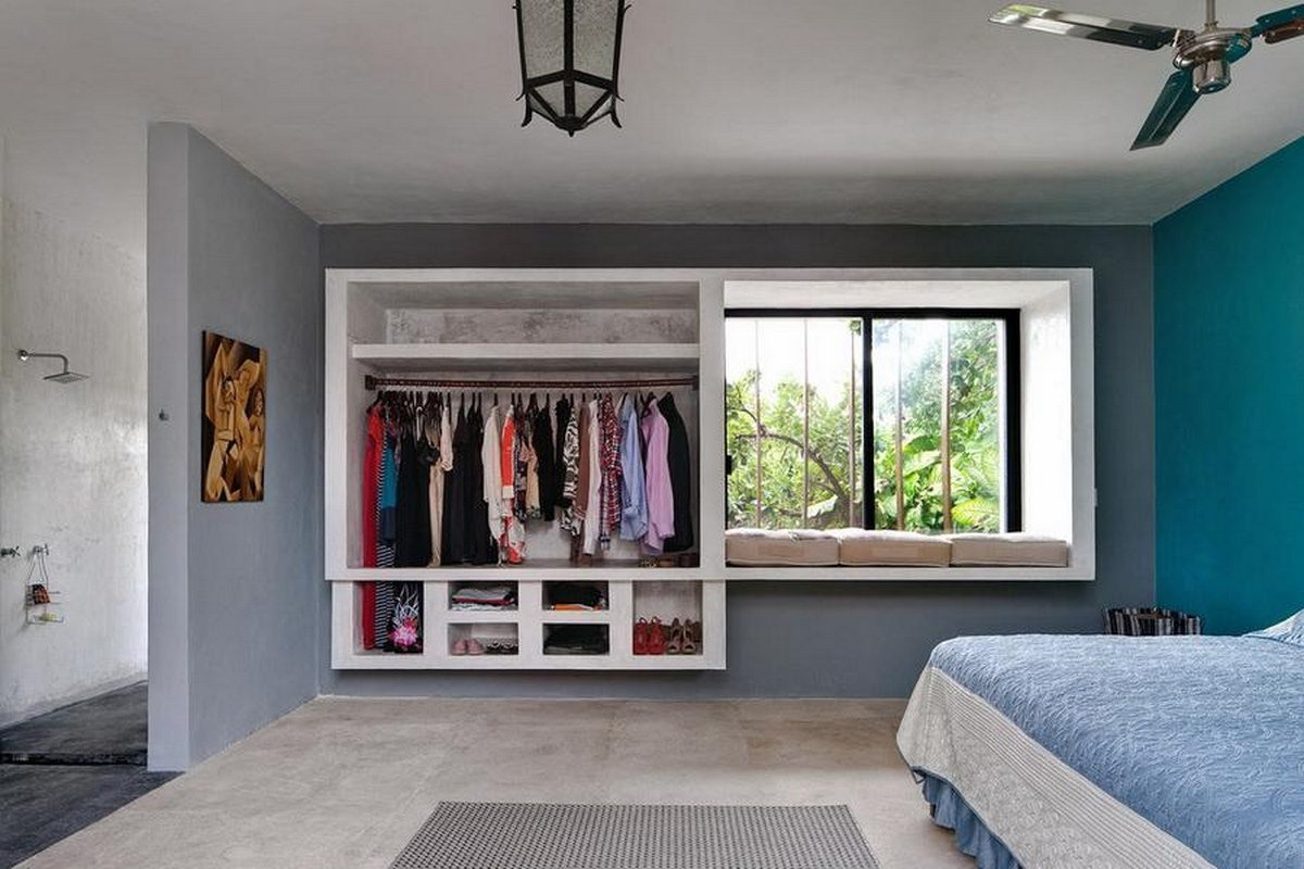 Blue and Grey Wall Decor Awesome fortable Bedroom with Grey and Blue Wall Decor and Hanging Lamp with Wardrobe and Bathroom