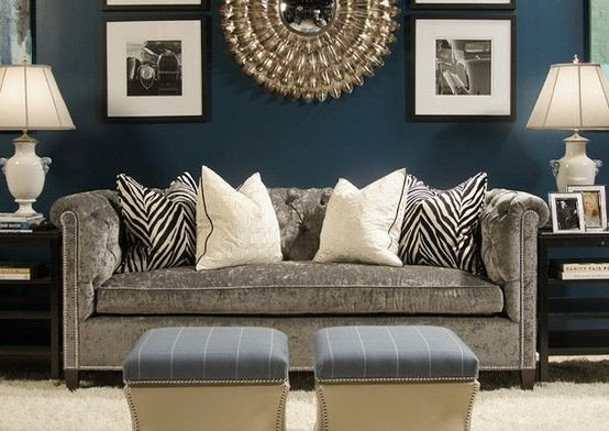 Blue and Grey Wall Decor Awesome Navy Living Room with Gray sofa I Like This with Pops Of Coral or Pink & Copper