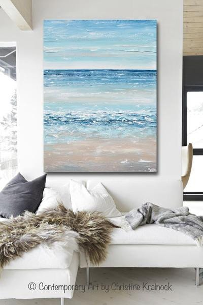 Blue and Grey Wall Decor Awesome original Art Blue Abstract Painting Textured Beach Coastal Decor – Contemporary Art by