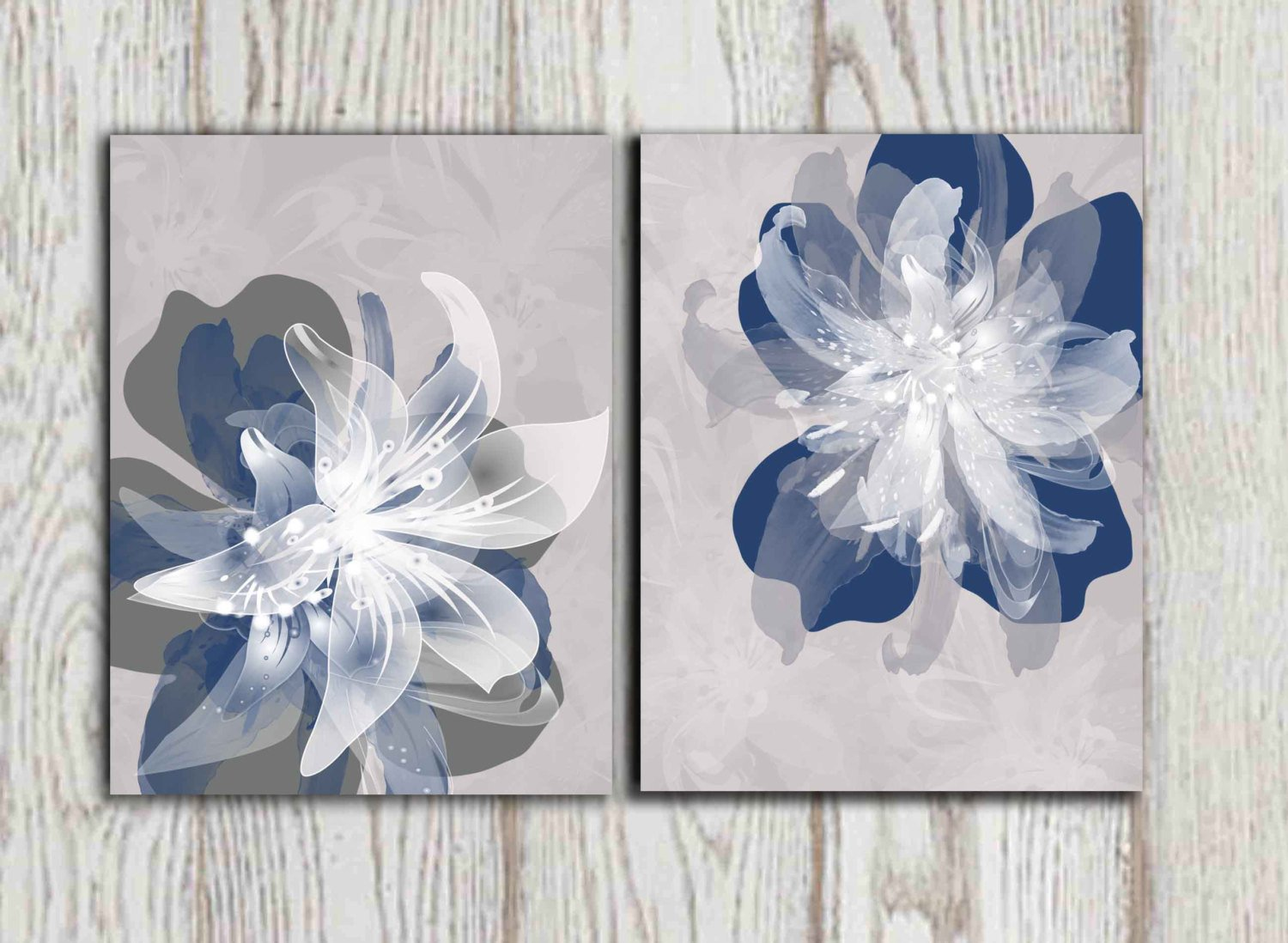 Blue and Grey Wall Decor Beautiful Navy Blue Gray Flower Wall Art Prints Poster Print