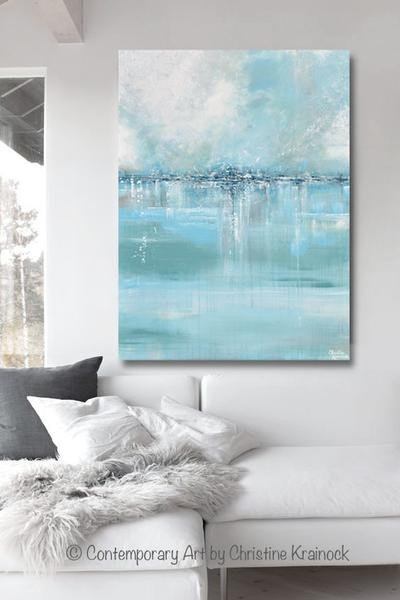 Blue and Grey Wall Decor Beautiful original Art Abstract Painting Coastal Wall Decor Sea Blue Green Grey – Contemporary Art by