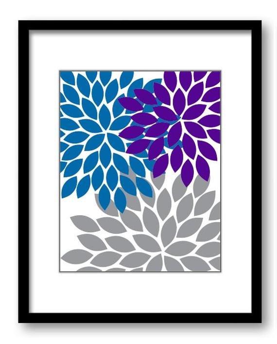 Blue and Grey Wall Decor Inspirational Purple Blue Grey Wall Decor Flower Print Chrysanthemum Flowers