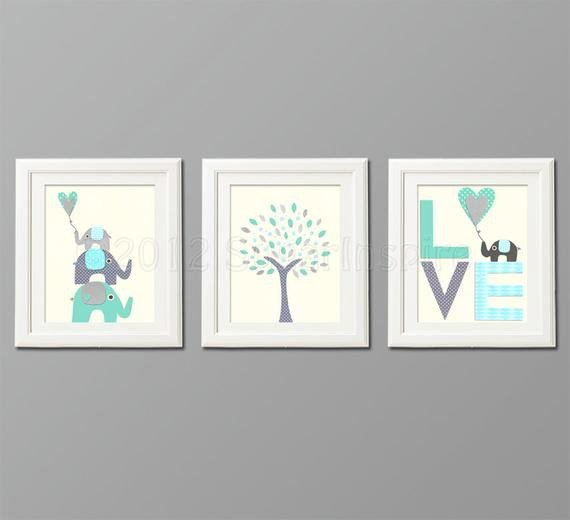 Blue and Grey Wall Decor Lovely Grey and Blue Teal Nursery Art Print Set Kids Room Decor