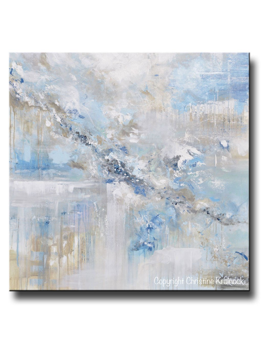 Blue and Grey Wall Decor New original Art Blue Abstract Painting White Grey Coastal Modern Wall Art – Contemporary Art by