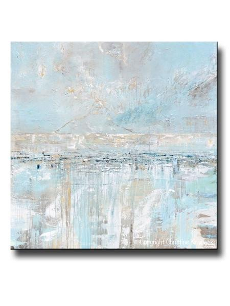 Blue and Grey Wall Decor Unique original Art Abstract Painting Blue Grey Textured Coastal Wall Decor – Contemporary Art by Christine