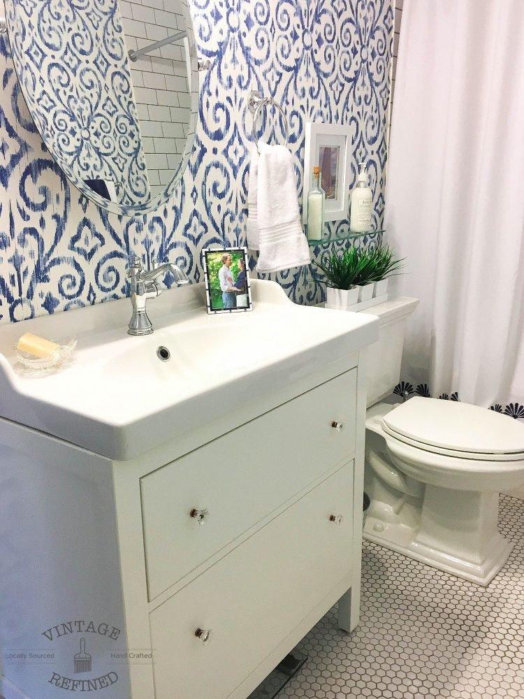Blue and White Bathroom Decor Lovely Blue & White Bathroom Makeover