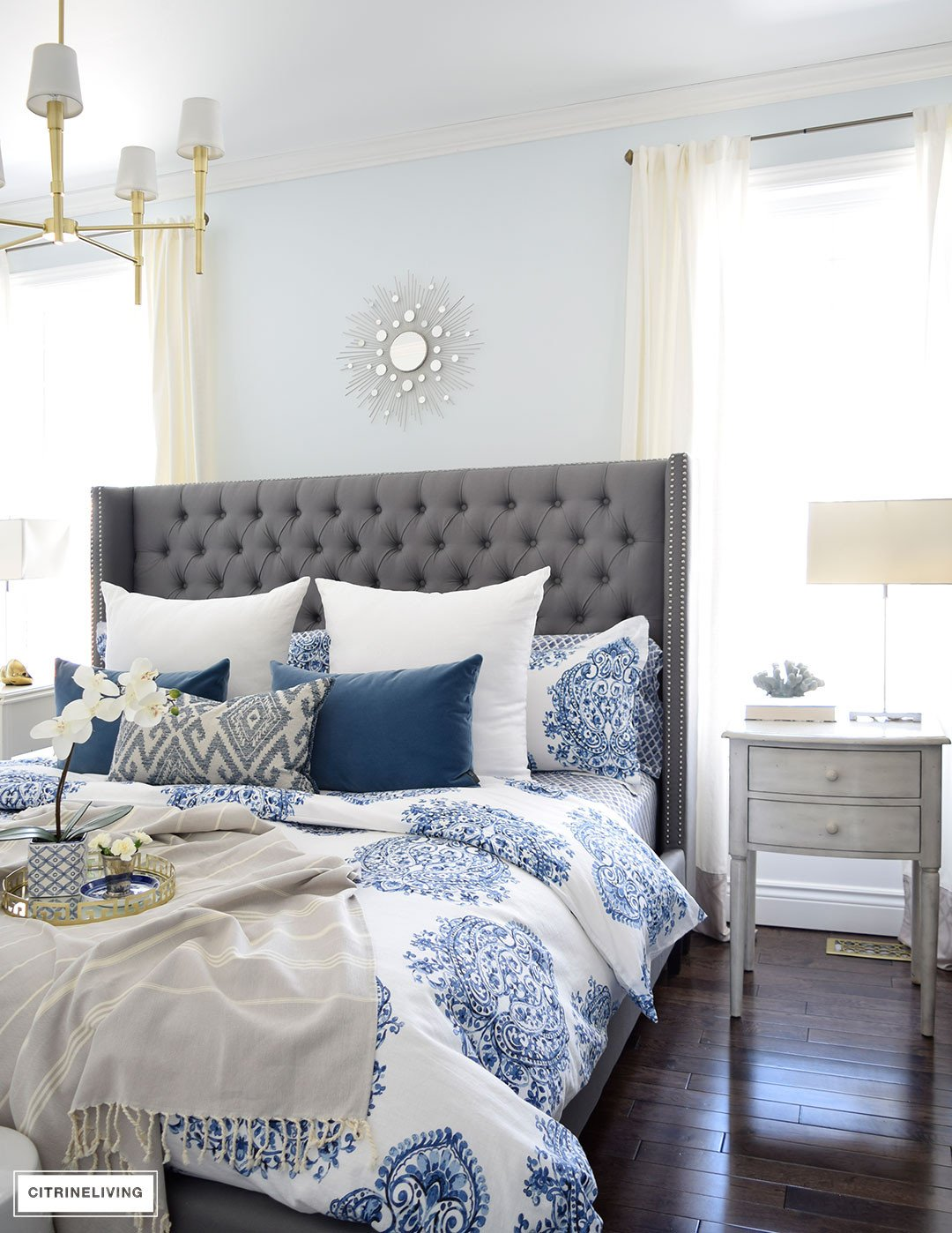 Blue and White Bedroom Decor Unique Citrineliving Spring In Full Swing Home tour 2017