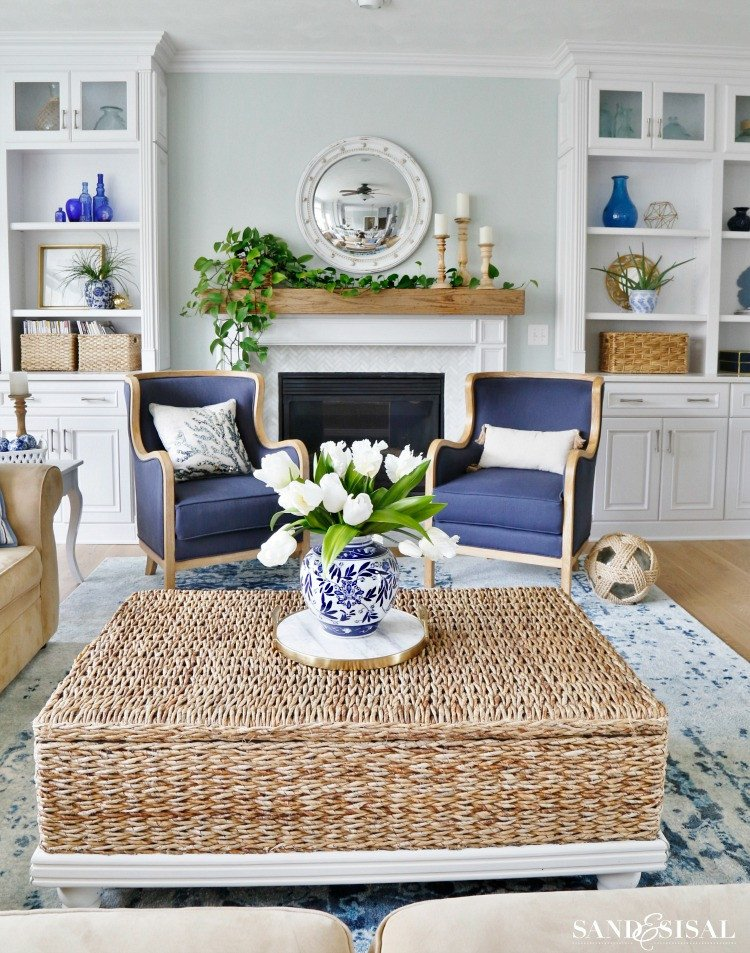 New Blue and White Living Room Updates Sand and Sisal