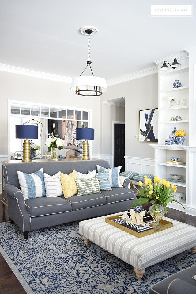 Blue and White Room Decor Fresh Spring Home tour with Vibrant Yellows and Pretty Blues