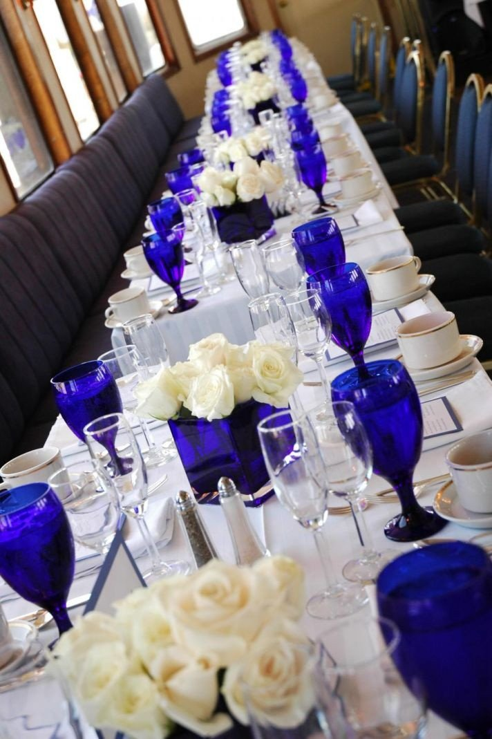Blue and White Wedding Decor Beautiful Royal Blue and Cream Wedding