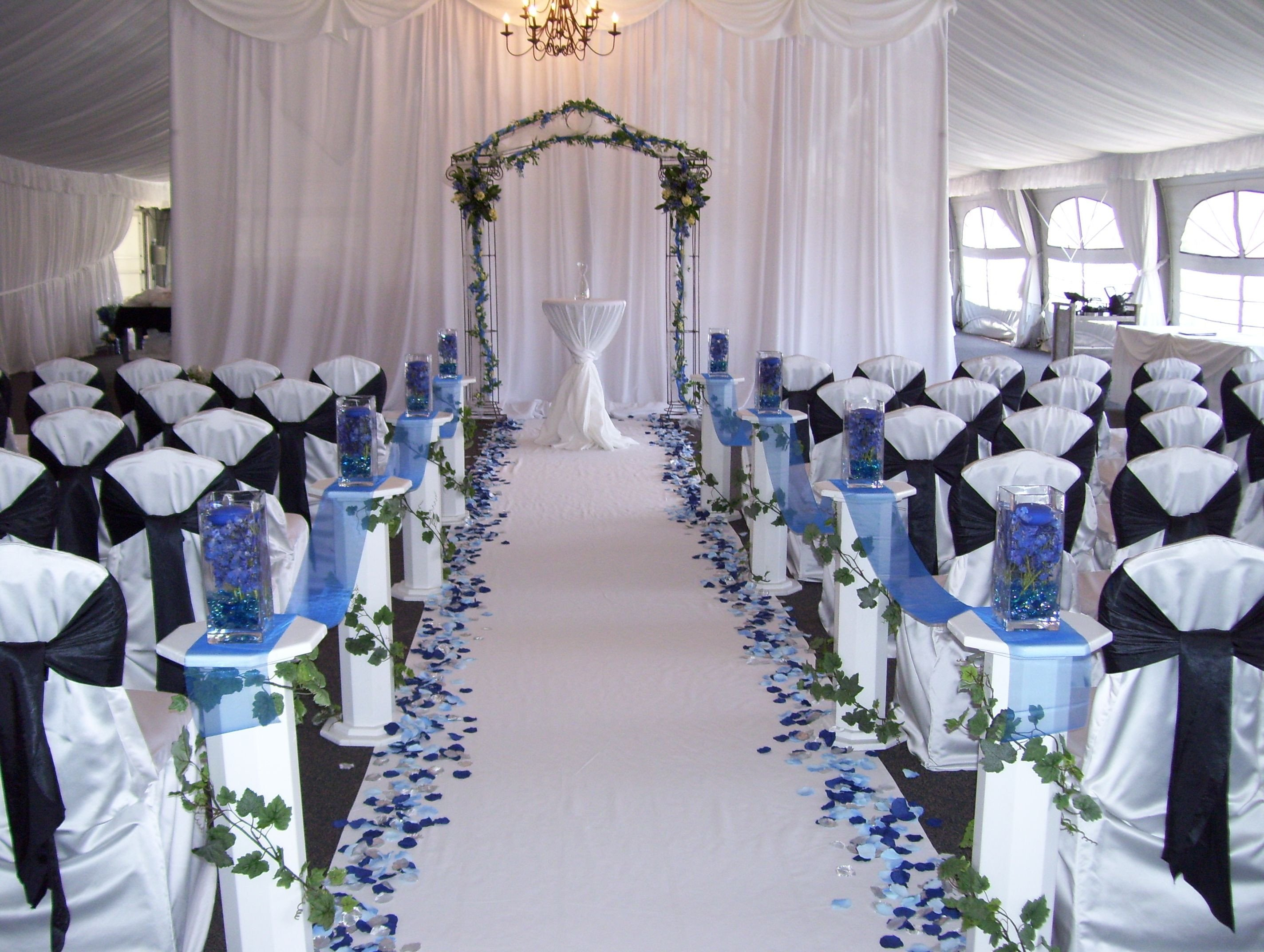 Blue and White Wedding Decor Elegant Love the Blue Petals Down A White Aisle Royal Blue Wedding Pinterest