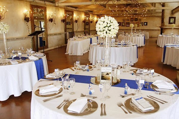 royal blue silver white wedding decorations