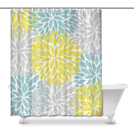 Blue and Yellow Bathroom Decor Elegant Mkhert Dahlia Pinnata Flower Yellow Light Blue and Gray Decor Waterproof Polyester Bathroom