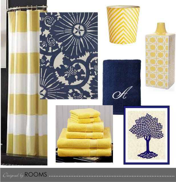 Blue and Yellow Bathroom Decor Inspirational Navy and Yellow Bathroom Design