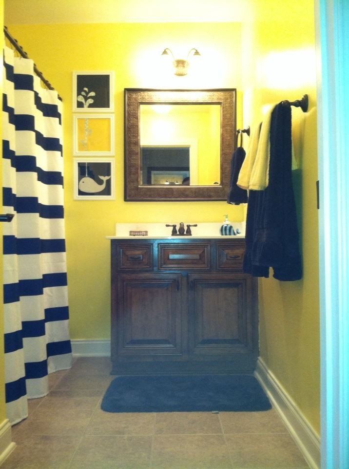 Blue and Yellow Bathroom Decor New Navy and Yellow Nautical Boys Bathroom Rooms I Have Done Pinterest