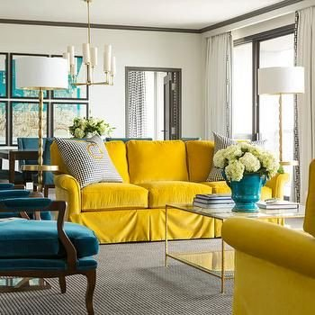 Blue and Yellow Home Decor Lovely Peacock Blue and Yellow Living Room Hollywood Regency Living Room tobi Fairley