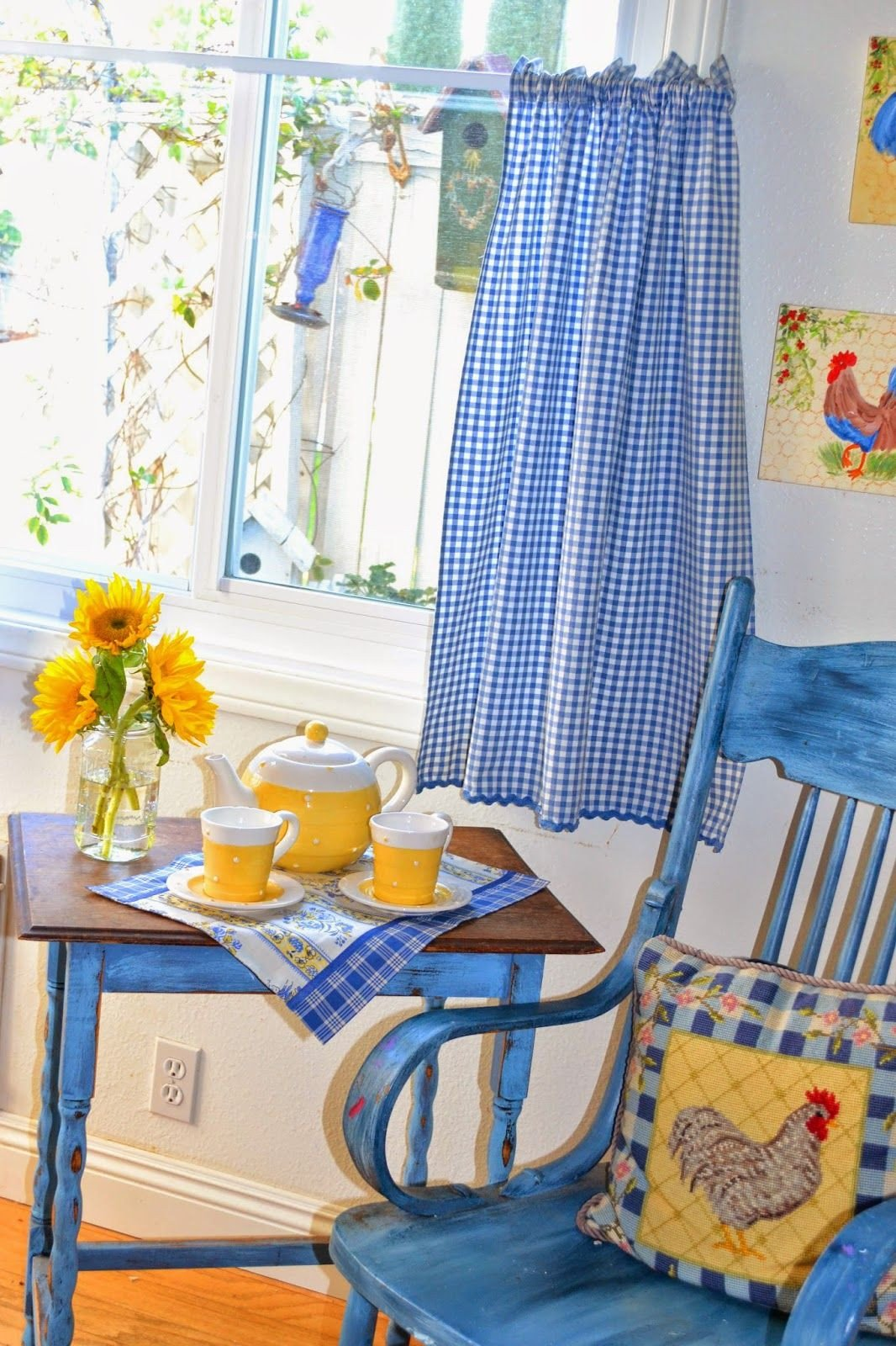 Blue and Yellow Kitchen Decor Awesome My Painted Garden Grow Your Blog Party Meet and Greet Gingham and Check In 2019