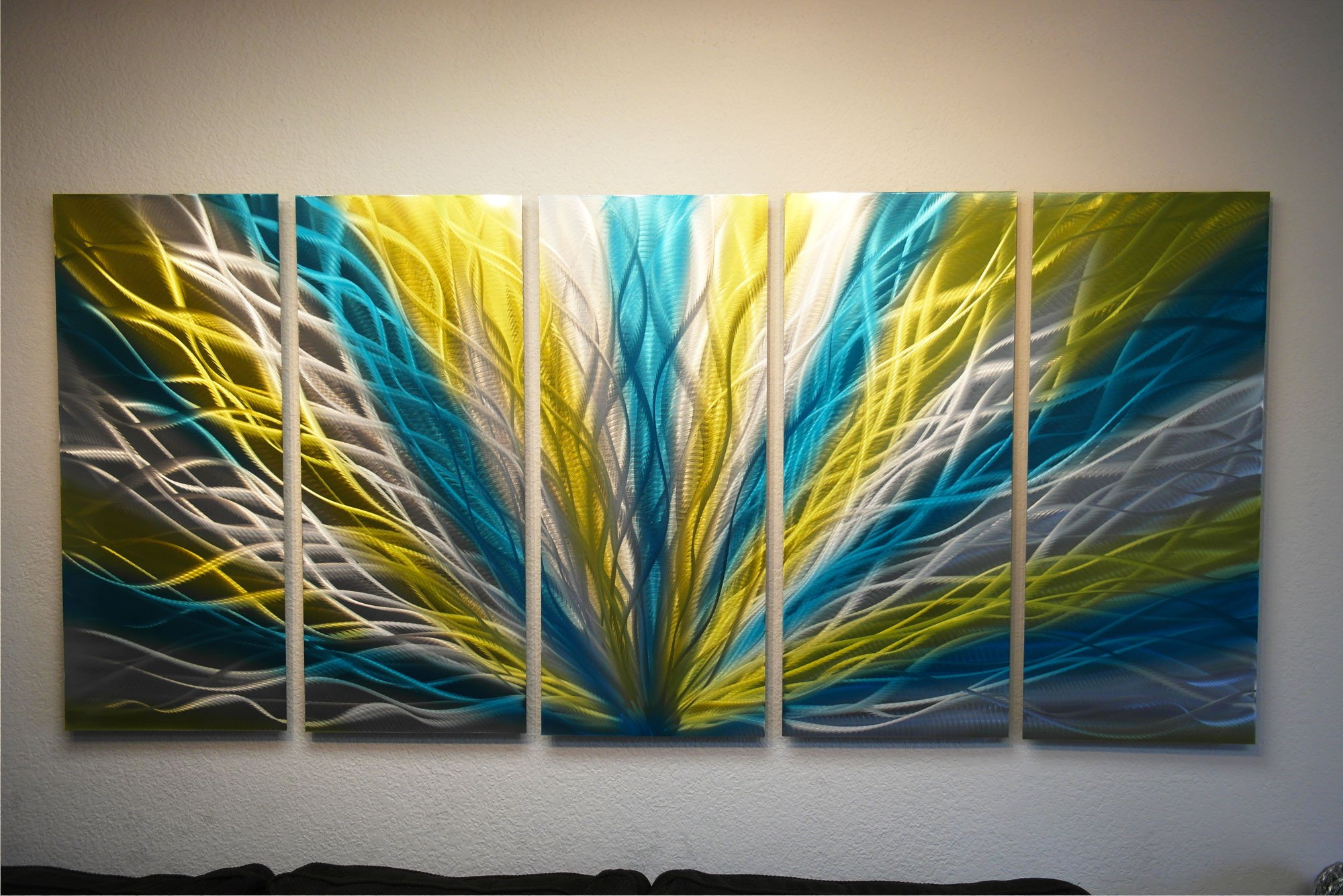 Blue and Yellow Wall Decor Awesome Radiance Blue Yellow 36x79 Metal Wall Art Abstract Sculpture Modern Decor · Inspiring Art