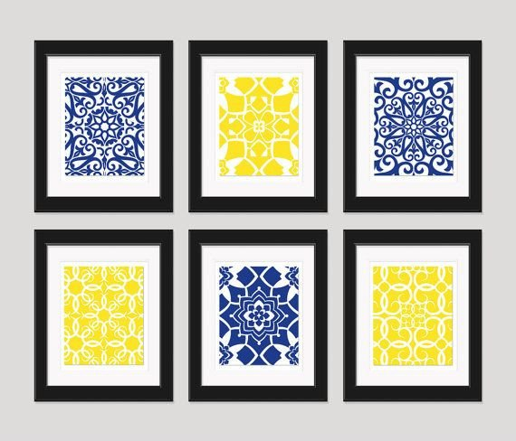 Blue and Yellow Wall Decor Elegant Bathroom Navy Yellow Wall Art Blue Yellow Art Home Decor Set Of 6 8x10 Prints Living