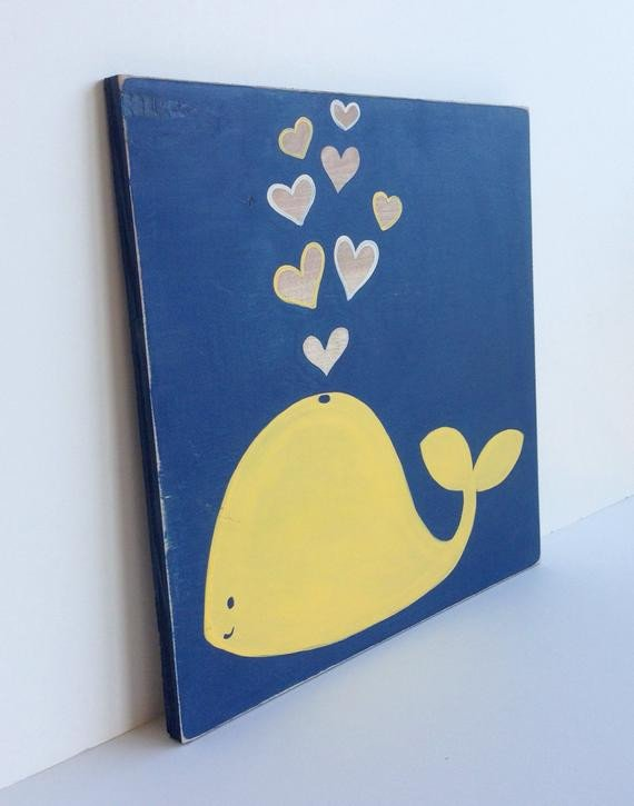 Blue and Yellow Wall Decor Fresh Hand Painted Navy Blue and Yellow Nautical Whale Wall Art