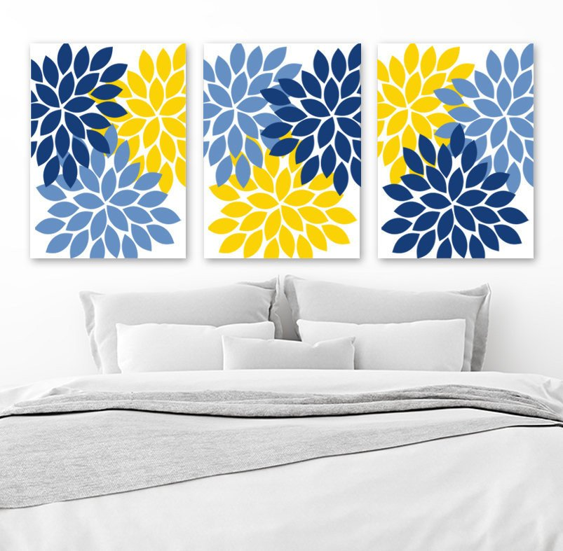 Blue and Yellow Wall Decor Inspirational Flower Wall Art Navy Blue Yellow Bedroom Canvas or Print