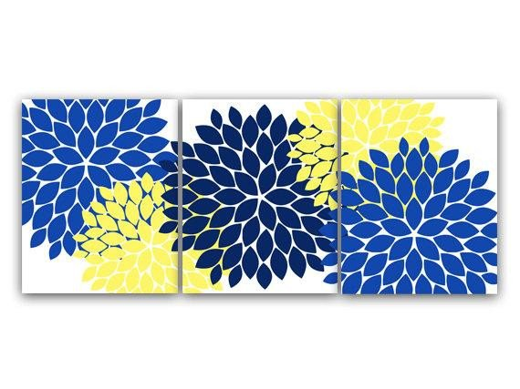 Blue and Yellow Wall Decor Unique Home Decor Wall Art Canvas and Prints Blue and Yellow Flower