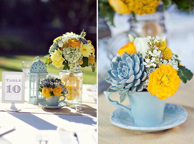 Blue and Yellow Wedding Decor Awesome Celina David S Pasadena Real Wedding