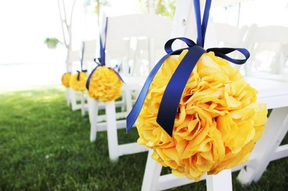 Blue and Yellow Wedding Decor Beautiful Pomanders Canary Yellow Wedding Pomanders Flowers Navy Yellow Reception Decor Blue Gold