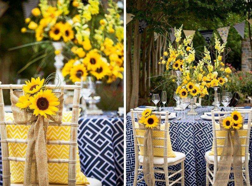Blue and Yellow Wedding Decor Beautiful Yellow and Navy Summer Wedding Floral Inspirations