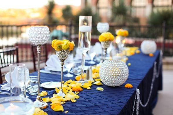 Blue and Yellow Wedding Decor Best Of Navy Blue Yellow and Gray Wedding Reception