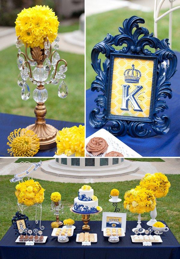 Royal Wedding Bridal Shower Yellow and Blue Wedding Inspiration