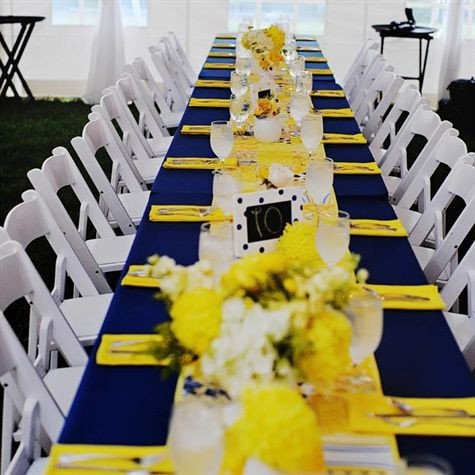 Blue and Yellow Wedding Decor Luxury Sunshine Yellow and Navy Blue Tablecloth Estate Table Decor – Shared On the Knot