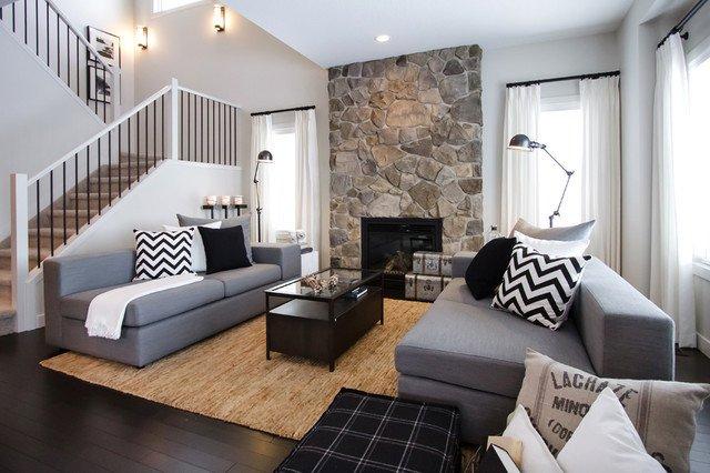 NFID Cottage Casual Contemporary Living Room Calgary by Natalie Fuglestveit Interior Design