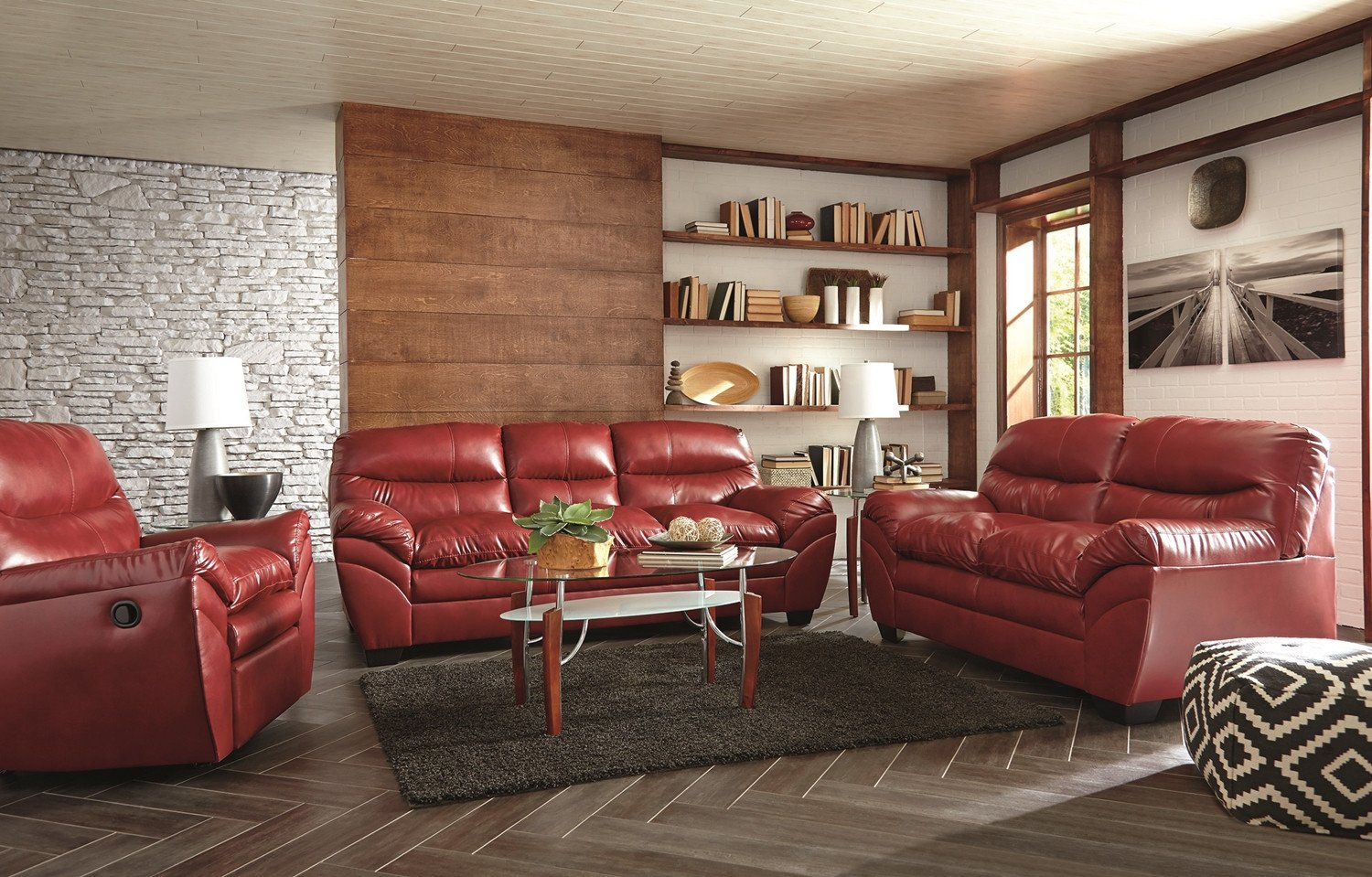 Casual Contemporary Living Room Beautiful Casual Contemporary Red Bonded Leather sofa Set Living Room Furniture