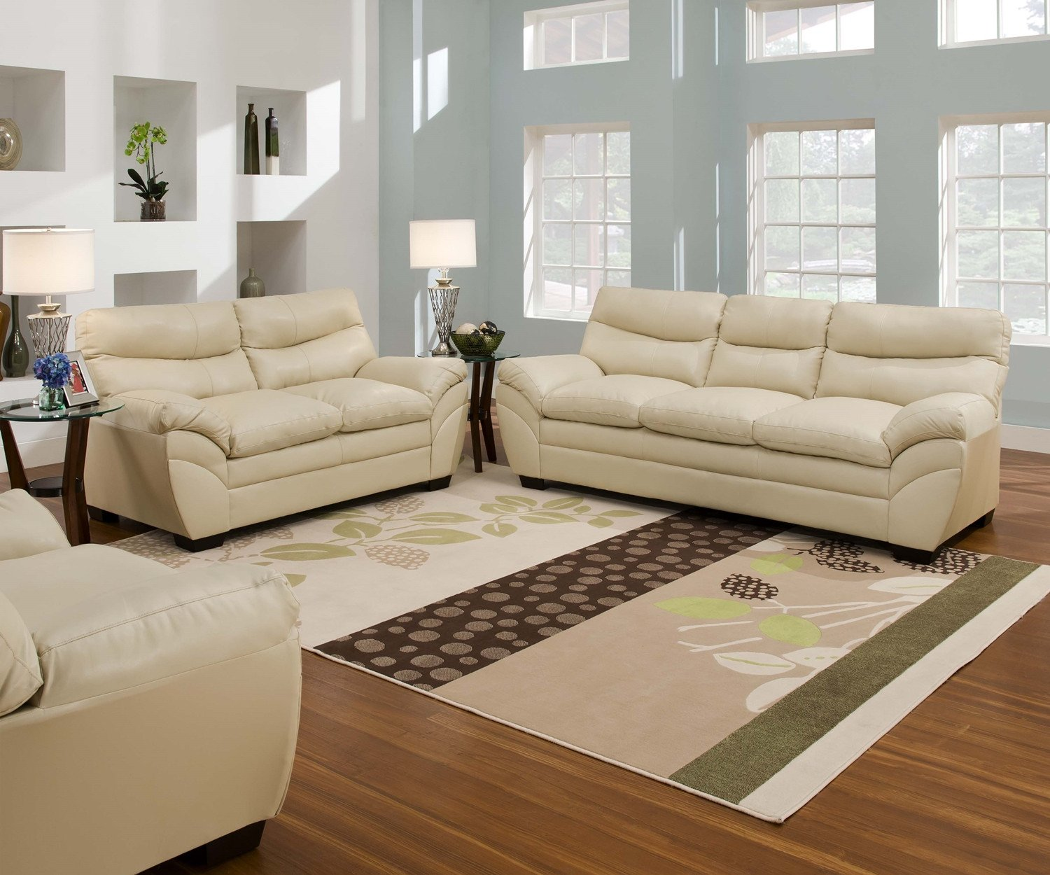 Casual Contemporary Living Room Lovely Casual Contemporary Cream Bonded Leather sofa Set Living Room Furniture