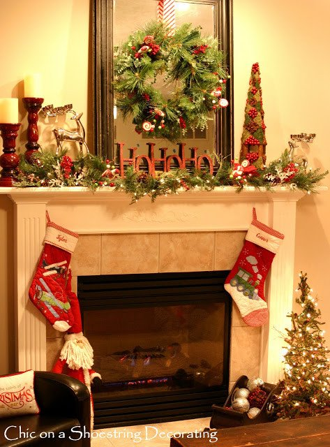 Christmas Decor for Fireplace Mantels Beautiful Chic On A Shoestring Decorating Sprucin Up My Christmas Mantel On the Cheap