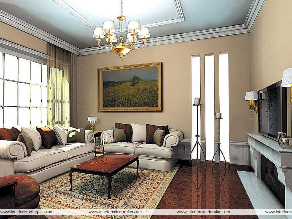 Classy Comfortable Living Room Elegant Interior Exterior Plan