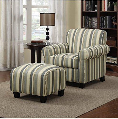 Coastal Comfortable Living Room Fresh Portfolio Mira Coastal Living Room Upholstered fortable Blue Stripe Arm Chair and Ottoman