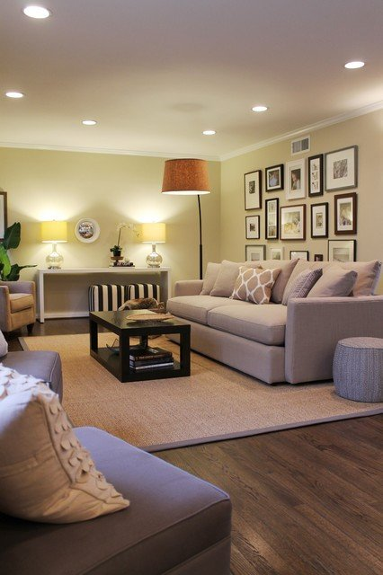 Coastal Contemporary Living Room Awesome Beachy Coastal Neutrals Gallery Wall Arc Lamp and Sisal Rug Contemporary Living Room Los