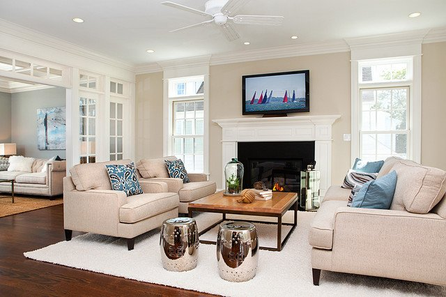 Coastal Contemporary Living Room Beautiful Coastal Living In Fairfield County Beach Style Family Room New York by Ba Staging