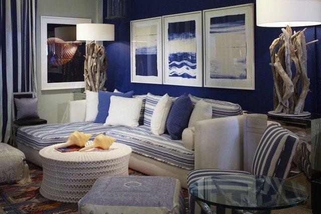 Coastal Contemporary Living Room Elegant Coastal Blue Living Room Contemporary Living Room Miami by Jalan Jalan Collection