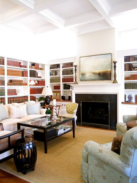 Comfortable Chic Living Room Elegant fortable Chic Living Room Library with Fireplace Notice the High Windows On Either Side Of