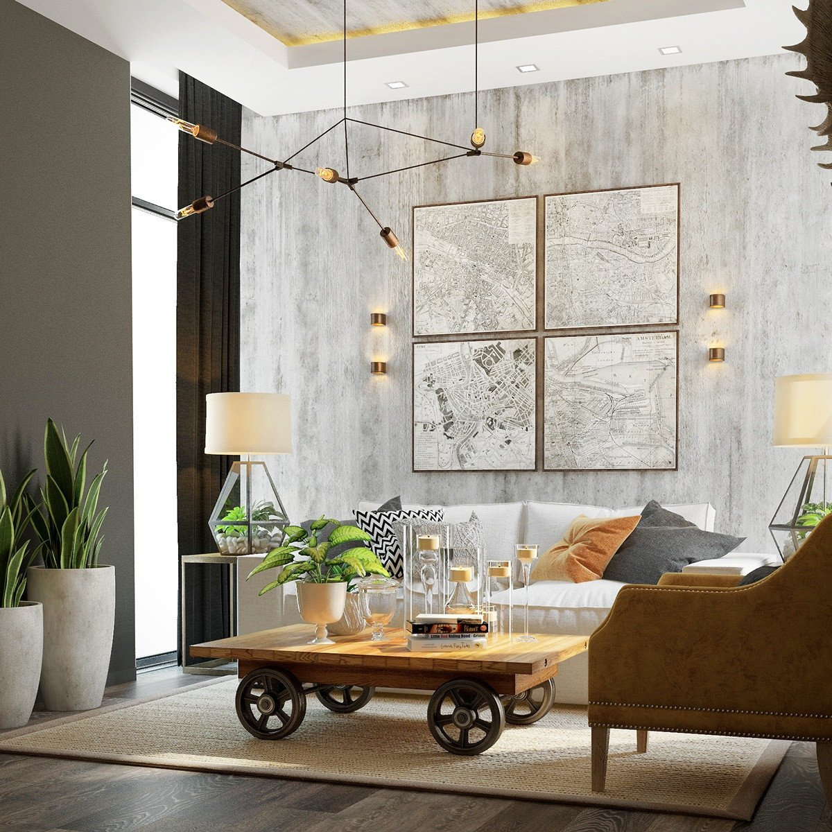 Comfortable Feminine Living Room Awesome 4 Homes Using Concrete as A Stylish Accent