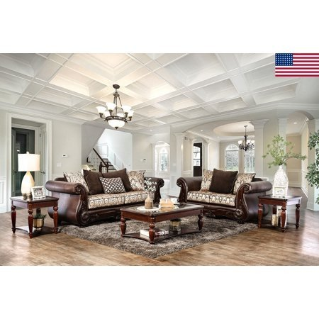 Comfortable formal Living Room Elegant formal Traditional Living Room Furniture 2pc sofa Set sofa Love Seat Brown Rolled Arms fort